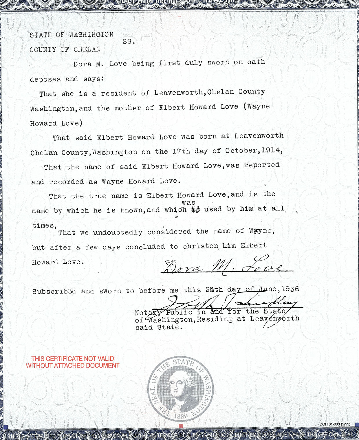 Documents birth certificate love elbert certified name change documents birth certificate love elbert certified name change wayne to elbert 24 jun 1936 1betcityfo Images